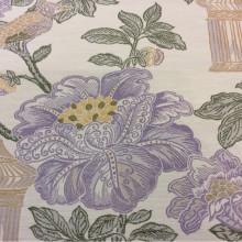 Ткань под рогожку с хлопковой нитью в стиле жуи Paloma 07. Европа, Испания, портьерная ткань для штор. На светлом фоне изображение цветов и птиц, микс
