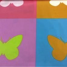 Ткань цветные бабочки в квадратах Mariposas 2. Испания, Европа, портьерная, тонкая ткань.
