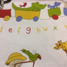 Ткань для штор с английским алфавитом Train 1. Испания, Европа, тюль. Цветные фигурки животных