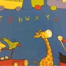 Детская ткань с зверушками, хлопковая ткань с ярким принтом Zoo 3. Испания, Европа, портьерная. На синем фоне цветные фигурки животных, буквы