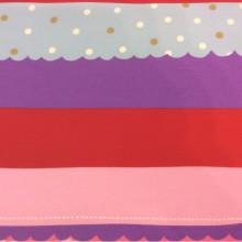 Хлопковая ткань с ярким принтом Pussycat 1. Европа, Испания, портьерная. Горизонтальные цветные полоски
