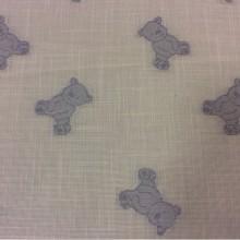 Тюлевая ткань с хлопковой нитью в детскую Cindy 09. Европа, Испания, тюлевая. На белой сетке голубые мишки