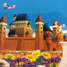 Портьерная ткань с принцессой и замком Cindy 01. Купонная ткань: низ с рисунком, верх однотонный. Испания. Цветной рисунок  из диснеевского мультфильма