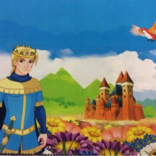 Портьерная ткань с принцем из сказки Cindy 02. Европа, Испания, портьерная ткань для детской. Купонная ткань: низ с рисунком, верх однотонный
