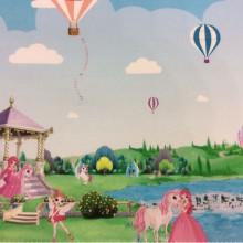 Детская ткань с принцессами и единорогами, замком Cindy 11. Купонная ткань: низ с рисунком, верх однотонный. Испания, Европа, портьерная. Цветной рисунок из диснеевского мультфильма