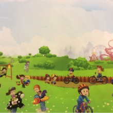 Ткань для детской с детьми Cindy 20. Испания, Европа, портьерная, экологичная ткань. Цветной рисунок «весёлые человечки»