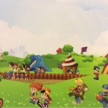 Экологичная ткань для детской комнаты (100% хлопок) Cindy 21. Купонная ткань: низ с рисунком, верх однотонный. Испания, Европа, портьерная. Цветной рисунок «весёлые человечки»