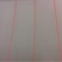 Тюлевая ткань с добавлением хлопка, на белой сетке розовые полосы Cindy 16. Испания, тюль