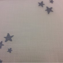 Тюлевая ткань с хлопковой нитью, на белой сетке голубые звёзды Cindy 08. Испания, Европа, тюль.