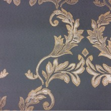 Купить фанцузскую ткань из атласа с вышивкой 2375/41. Европа, Франция, портьерная. Насыщенный голубой фон, серебристый орнамент