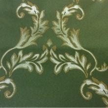 Атлас с вышивкой в стиле барокко в Москве 2375/50. Франция, Европа, портьерная ткань. Зелёный фон, золотистый орнамент