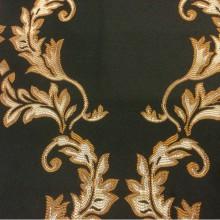 Атласная ткань из Франции 2375/55. Европа, Франция, портьерная ткань для штор.Тёмно-зелёный фон, золотистый орнамент