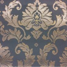 Купить дорогую ткань в стиле барокко в Москве 2374/41. Франция, Европа, портьерная. Насыщенный голубой фон, серебристый орнамент