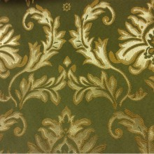 Купить ткань в магазине штор с доставкой по Москве 2374/50. Франция, Европа, портьерная ткань в стиле барокко. Зелёный фон, серебристо-золотистый орнамент