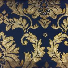 Атлас с вышивкой, тёмно-синий фон, золотистый орнамент 2374/40. Франция, Европа, портьерная ткань для штор