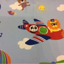 Ткань для ребенка с самолетиком и животными Pets. Airjet. Col 03. Испания, Европа, портьерная ткань с ярким принтом. На голубом фоне цветные мультяшные персонажи