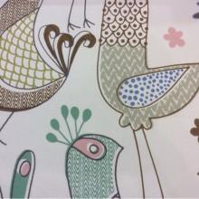 Хлопковая ткань с добавлением льна и фольклорным орнаментом Icos, col 02. Испания, портьерная. На светлом фоне цветные курицы
