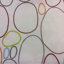 Органза с вискозной нитью и ярким принтом, на прозрачном фоне цветные овалы Os, col 31. Испания, Европа, тюль