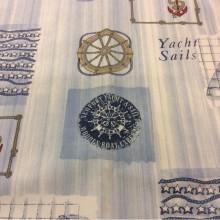 Ткань для штор с якорями и штурвалом Verne, col 65. Испания, Европа, портьерная. Морская тематика