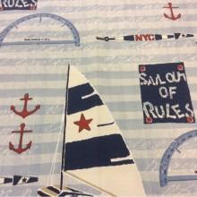 Тефлоновая ткань с хлопковой нитью морской тематики Nautilus, col 65. Европа, Испания, портьерная. Морская тематика для штор