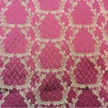 Рифлёный атлас, вискоза Gretta 090. Итальянская портьерная ткань. Красный фон, золотистый орнамент