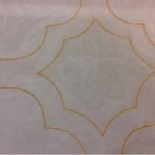 Красивый итальянский тюль с вышивкой Alicante 23. Италия, Европа, тюль. На прозрачном фоне орнамент золотистого цвета