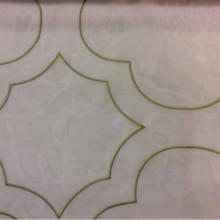 Органза с вышивкой Alicante 31. Италия, Европа, тюль. На прозрачном фоне орнамент оливкового оттенка