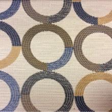 Модная ткань в стиле модерн Paloma 17. Испания, Европа, портьерная. Круги синего, бежевого, зелёного оттенков