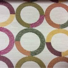 Ткань для штор с геометрическим рисунком Paloma 24. Испания, Европа, портьерная. Круги малинового, зелёного, жёлтого оттенков