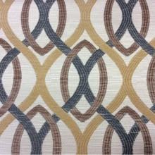 Ткань с абстрактными линиями под рогожку с хлопком Paloma 30. Испания, Европа, плотная портьерная ткань для штор в стиле модерн. Абстрактные линии коричневого, бежевого, синего оттенков