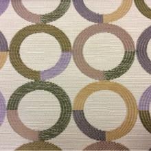 Ткань под рогожку с хлопковой нитью Paloma 03. Испания, Европа, портьерная ткань для штор. Круги фиолетового, зелёного, бежевого оттенков