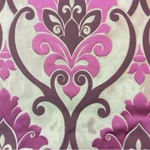 Купить льняную ткань для штор в Москве Messaline col. 07. Италия, Европа, портьерная. Карамельный фон, принт «дамаск» цвета фуксии