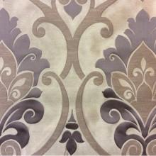 Купить атласную ткань для штор в интернете Messaline col. 04. Испания, Европа, портьерная. Тёмно-бежевый фон, тёмно-серый принт «дамаск»