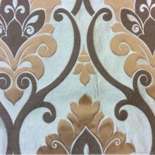 Красивая льняная ткань под заказ в Москве Messaline col. 16. Испания, Европа, портьерная. Серо-коричневый фон, карамельный принт «дамаск»
