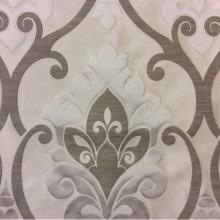 Испанская ткань для штор Messaline col. 01. Европа, портьерная. Ванильный фон, ванильно-серый принт «дамаск»