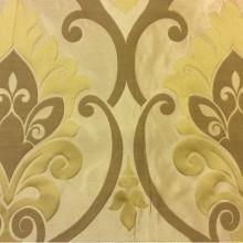 Бежевая ткань для штор в стиле барокко Messaline col. 15. Италия, Европа, портьерная. Бежевый фон, золотистый принт «дамаск»