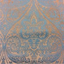 Купить атласную ткань для штор в Москве Lucido col. 14. Испания, Европа, портьерная. Золотистый фон, бирюзовый принт «дамаск», «пейсли»