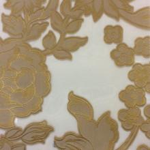 Тюль органза для штор с принтом Fausta 21. Италия, Европа, тюль. Органза с нанесением растительного атласного принта бронзового оттенка