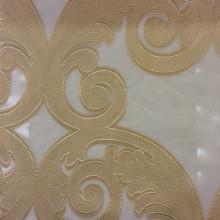 Элитная тюль для штор в интернет-магазине Москвы Fausta 28. Италия, Европа, тюль. Органза с нанесением атласного принта «завитки» золотистого оттенка