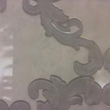 Органза с нанесением атласного принта «завитки» серебристого оттенка Fausta 35. Италия, Европа, тюль
