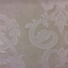 Органза с нанесением растительного атласного принта белого цвета Fausta 41. Италия, тюль