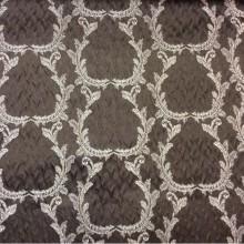 Итальянский рифлёный атлас для штор, вискоза Gretta 160. Италия, Европа, портьерная ткань. Шоколадный фон, золотистый орнамент