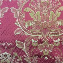 Итальянская ткань в розницу, стиль барокко артикул Gloria 090. Европа, Италия, портьерная. Красный фон, бронзовый орнамент «дамаск»