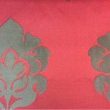 Дорогая итальянская ткань для штор из атласа и льна 2358/30. Европа, Италия, портьерная. Красный фон, бронзовый орнамент