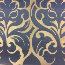 Итальянская ткань в розницу 2366/40. Европа, Италия, портьерная. Бронзовый фон, синий орнамент