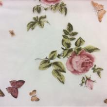 Ткань из шифона с яркими цветами и бабочками, микс, фон прозрачный, хлопок 2416/33. Италия, Европа, тюль