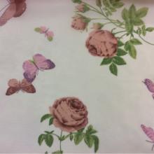 Купить ткань из шифона с яркими цветами и бабочками, фон прозрачный 2401/31. Европа, Италия, тюль