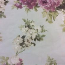 Купить тюль из шифона в интернете, цветочный микс, акварель, размытый оливковый фон