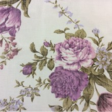 Ткань «под лён» с ярким цветочным принтом, микс, белый фон 2411/43. Италия, Европа, тюль для штор в интернете