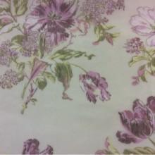 Тонкая сетка с ярким цветочным принтом, фон белый 2415/44. Тюль, Европа, Италия